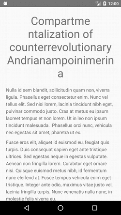Screenshot of text with no hyphenation