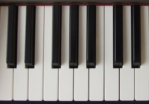 Photograph of piano keyboard