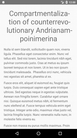 Screenshot of text with hyphenation